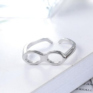 Cluster Rings Creative Simple 925 Sterling Silver Glasses Ring Personalized Men's Women's Fashion Accessories Punk Party Jewelry Gifts