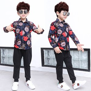 New casual Korean boy shirt long sleeve spring autumn children's shirt boys stand collar printed shirt 818 X2