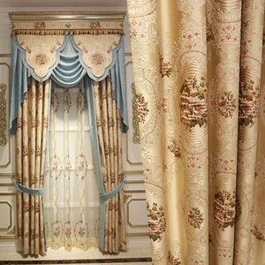 European Top Beige 4D Embossed Large Flower Thick Blackout Window Curtains For Living Room High Quality Villa Bedroom Curtain & Drapes