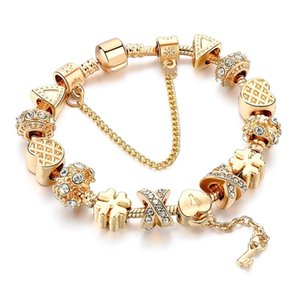 Szelam Fashion Bianco Crystal Key Charm Braccialetto per le donne Gold Gold European FAI DA TE Bracciali Braccialetti Pulseira SBR170013
