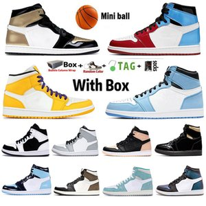 With Box 2021 Jumpman 1 1s Mens Basketball Shoes Obsidian UNC University Blue Hyper Royal Twist Silver Toe Dark Mocha Chicago Sneakers Trainers