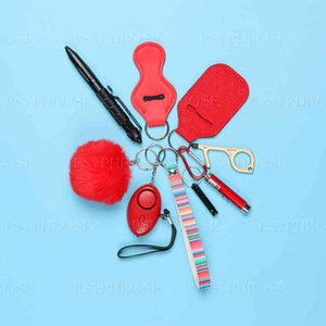 Custom Personal Safety Survival Key Chains Set Defensive Alarm Pepper Spray Window Breaker Girl Self Defense Keychain