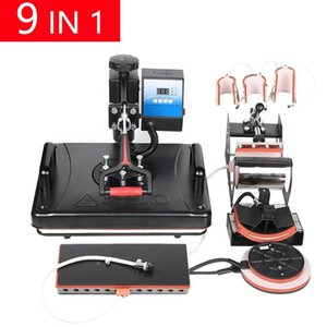 Free 9 In 1 Sublimation Heat Transfer Machine For Customizing T shirt Keychain Pen WY64
