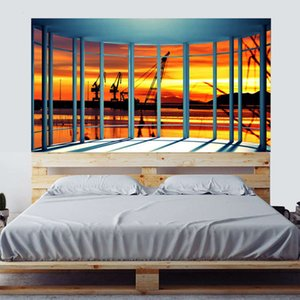 Window Stickers 3D windowsill mining landscape bedside industrial creative wall paste personalized home decoration wallpaper mural