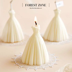 Wholesale 8*6cm Wedding Dress Natural Soy Wax Scented Candle Romantic Fragrance Photo Props Gift Decoration