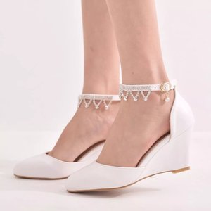Spring Pointed Toe Wedge High Heel Lace Sandals Tassel Pearl Party Dress Women Large Size Bride Bridesmaid Wedding Shoes
