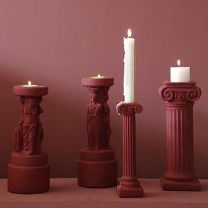 Candle Holders Nordic Christmas Holder Retro Long Stick Pillar European Resin Bougie Decoration Dinning Table Decor 50