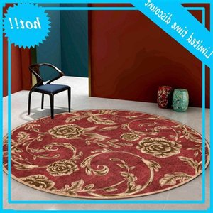Europe Gold Rose Floral Red Roud Retro Carpet Living Room Floor Bedroom Modern Coffee Table Rug Bedside Mat