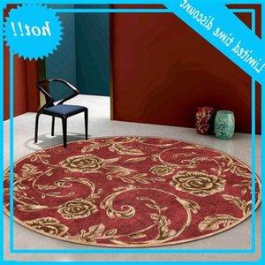 Europe Gold Rose Floral Red Roud Retro Carpet Living Room Floor Bedroom Modern Coffee Table Rug Bedside Mat