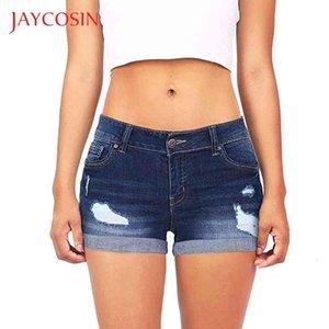 Jaycosin Düşük Belli Kısa Kadınlar Yıkanmış Yırtık Delik Mini Kot Kot Pantolon Şort Düşük Rise Shorts Bir Ayarlanabilir