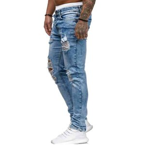Males Fashion Men's Pants Casual Hole Skinny Pencil Jeans Water Wash Cotton Stretch Men Clothings