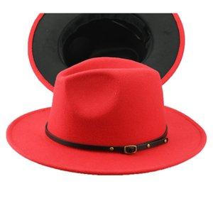 Men's Fedora Hat For Gentleman Woolen Wide Brim Jazz Church Cap Band Wide Flat Brim Jazz Hats Stylish Trilby Panama Caps FD19061