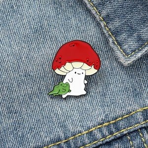 Cat Face Mushroom Enamel Pins Custom Animal Plant Brooch Bag Clothes Lapel Pin Badge Cartoon Jewelry Gift for Kids Friends 4528 Q2