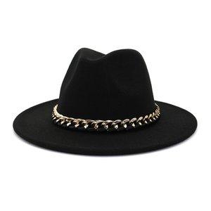 Mulheres Fedora Lã Chapéu Outono Inverno Quente Triby Feltro topo Para Homens Moda Primavera Royal Black Jazz com Chain HF30
