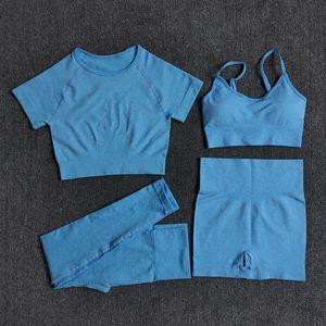 Yoga Set Workout Seamless Womens Sportswear Gym Clothing Sports Suits Fitness Short Sleeve Crop Top High Waist Running Leggings