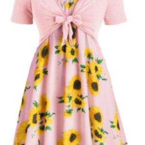 Dresses V-neck lace up short sleeve sunflower print two piece set