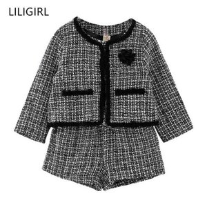 Liligirl Kinder Mädchen Temperament Kleidung Set 2020 Neue Plaid Jacke + Shorts 2 stücke Anzug für Baby Gute Qualität Trainingsanzug Kostüm X0401