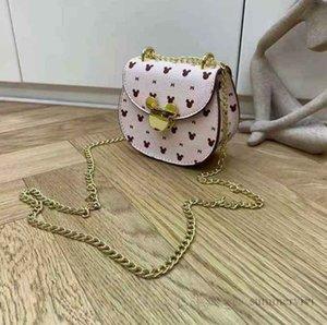 Designer kids cartoon letter printed handbags girls metals buckle chain one-shoulder bag children PU leahter crossbody bags lady mini purse Q1906