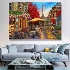 """Paintings DIY Oil Painting Paint By Numbers""""Street View Under The Tower"""" Acrylic Drawing On Canvas Wall Art Hand Painted Home Decor"""