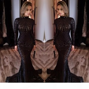 2018 Black Sequined Mermaid Evening Dresses High Neck Long Sleeves Prom Dresses Vestidos De Fiesta Formal Arabic Party Wear