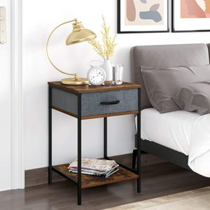 Nightstand 2-Tier End Table with 1 Fabric Drawer Modern Bedroom Furniture Dresser Storage Organizer and Open Shelf Accent Desk