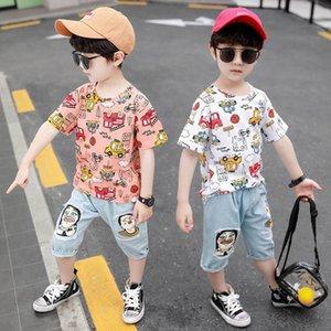 Boys Clothing Sets Kids Suit Casual Children Outfit Clothes Summer Cotton Short Sleeve Cartoon T-shirts Jeans Pants Shorts 2Pcs 2-8Y B4768