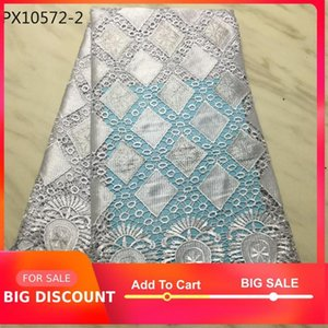 Ribbon White Color Style Cotton Lace Fabric For Women Dress High Quality Colorful Nigerian Voileguipure