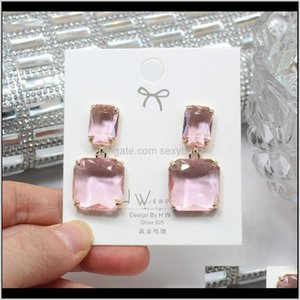 Jewelry Drop Delivery 2021 Shiny Side Fashion Accessories Square Glass Beads Stud For Women Gift Earrings 6R3Gw