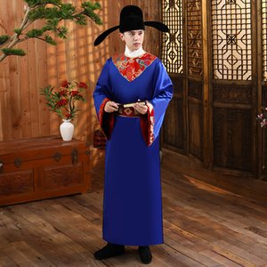 TV Film cosplay stage wear show Chinese Ancient Costume fancy Hanfu male Traditional Clothing Song Dynasty Adult blue Robe Men
