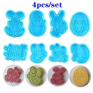 4pcs set Blue Easter Egg Shape Animal Plastic Fondant Cookie Cutter Biscuit Cake Mold Decoration