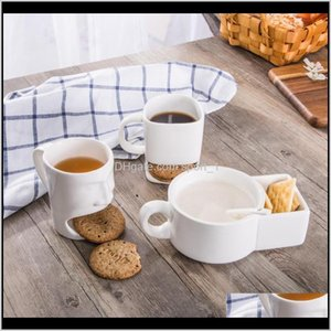 Mugs Drinkware Kitchen Dining Bar Home Garden Drop Delivery 2021 Cups Milk Dessert Ceramic Cookie Mug With Biscuit Holder Cafe Coffee Cup Yng