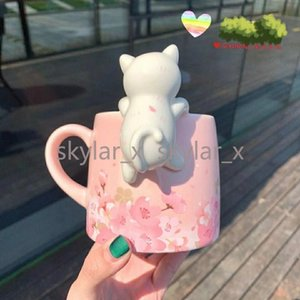 350ML Sakura Starbucks Cup Luxury Kiss Cups with Spoon Ceramic Mugs Married Couples Anniversary Mermaid Bronze Medallion Gift Products