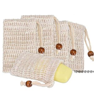 Soap Exfoliating Bags Natural Ramie Soap Bag Mesh with Drawstring for Foaming and Drying the Soap EWF6263