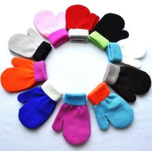 1-4 AÑOS Kindergarten niños Guantes de dedo cálido en invierno Invierno Anti-Caos Agarrando Acrílico Punto Grupo de Punto Cute Color Color Mitens BY1685