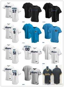 Hommes femmes jeunesseMiamiMarlins57 Elieser Hernandez 78 Holloway 51 James Hoyt 6 Starling Marte Jersey Custom Baseball Custom Blank Black