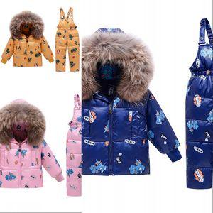 Winter Kinder Mädchen Kleidung Sets Warme Hood`te Ente Daunenjacke Mäntel + Hosen Wasserdichte Schneeanzug Kinder Babykleidung 689 x2