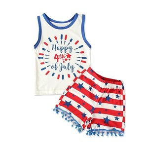 American Independence Day Vest Letters Cartoon Top + Shorts Sets Baby Girls Summer Sleeveless Two Piece Tracksuit Pajama Clothes G47LXE9