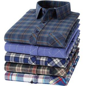 Мужские повседневные рубашки 100% хлопок фланелевой клетки мужские длинные рукава регулярные Fit Home удобное платье для мужской одежды 6xL 5XL
