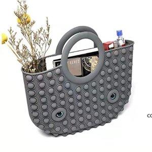 Decompression Finger Toys Silicone Rainbow Bubble Fashion handbag Fidget Party Simple Dimple Relief handbags DHE8774