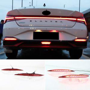 2PCS Rear Bumper Reflector Brake Light For Hyundai Elantra 2021 2022 Red Lens LED Car Warning Fog Lamp turn signal