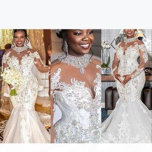 2021 Nouveau Crystal Serme Sirène Robes De Mariée High Col Sheer Manches Longues Manches Longues Cristal Perlée Robes De Mariée Bridal Elegant Robe de Mariée