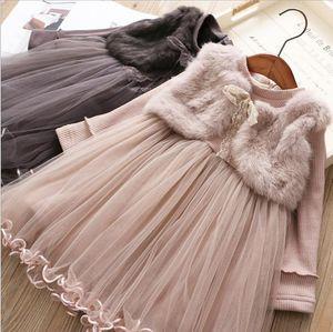 Girl's Dresses Girls' Fake Two-piece Plus Velvet Princess Dress Autumn And Winter Children's Dresses, Girls Skirts