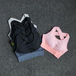 Bola de bola 6 colores yoga deporte sujetador sexy trasero acolchado cruz correas superior a prueba de golpes transpirable aptitud correr gimnasio chaleco deportes top