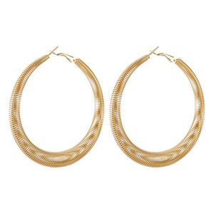 Dreamtop Big Circle Hoop Earrings For Women Gold Silver Color Oversized Spring Round Earing Simple Jewelry Nice Gift E152 & Huggie