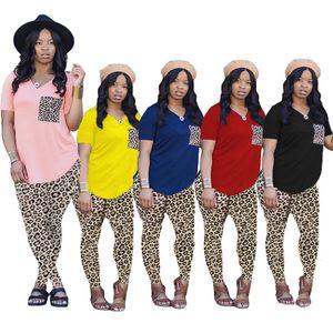 Плюс размер 3XL летних женщин наряды Простые трекселы с коротким рукавом футболки Top + леопардовые брюки двух частей набор Jogger Suits повседневная черные свиты 4812