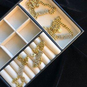 Mode Chokers Armband Halskette mit Buchstaben Diamanten Frauen Hochzeit Liebhaber Geschenk Engagement Luxus Schmuck