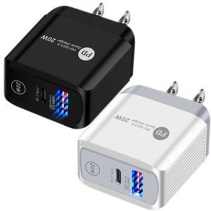 شحن سريع 20W 18W EU US UK AC Travel Home Travel PD QC3.0 محول شاحن الجدار ل iPhone 11 12 Pro Max Samsung اللوحي الكمبيوتر