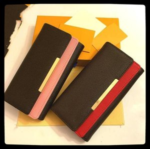 1-22 Wholesale red and pink fashion single zipper Wallets pocke men women leather lady ladies long with orange box