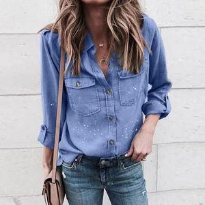 Women's & Ladies Shirts Fashion Female Single Breasted Blouses with Pocket Loose Printing Women Casual Long Sleeve Shirt Designer Clothing V Neck