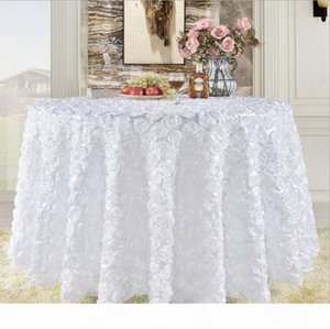 Great Gatsby 3D Rose Flowers wedding table cloth round and wedding cake table idea Masquerade Birthday Party White Burgundy Yellow